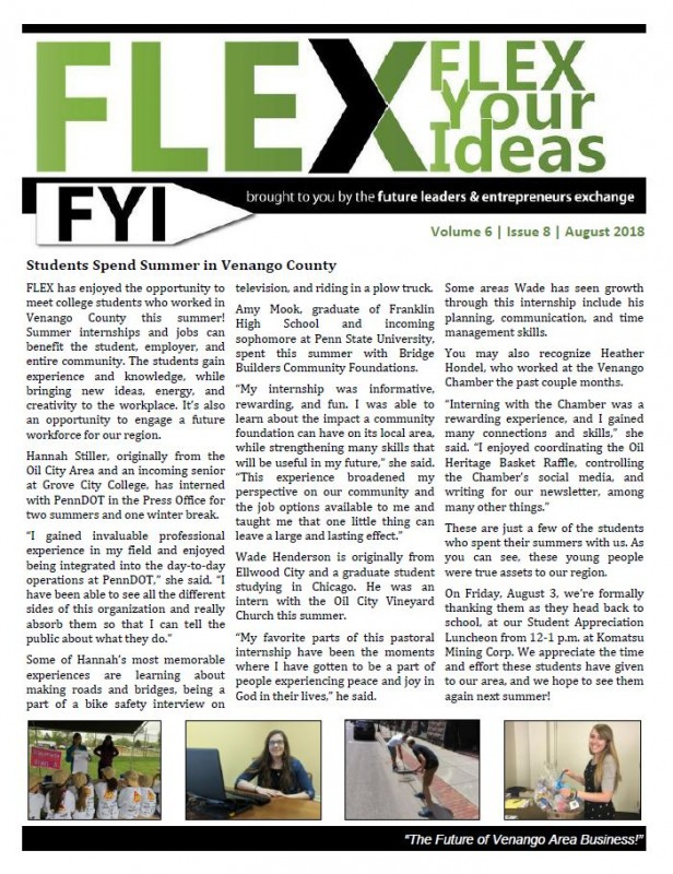 FLEX FYI Newsletter - August 2018 | Venango Area Chamber of Commerce