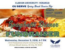 2018 Spaghetti Dinner Fundraiser Flyer