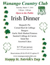 Irish Dinner flyer