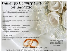 Wanango Country Club 2018 Bridal Expo ~ flyer