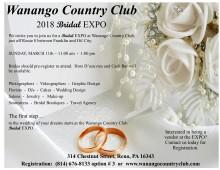 Wanango Country Club 2018 Bridal Expo ~ flyer